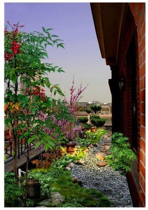 太湖国际酒店,日式屋顶花园效果图