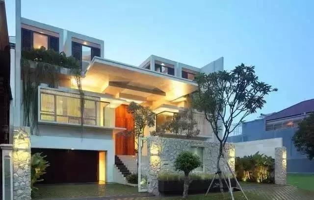 双拼别墅,现代风格庭院