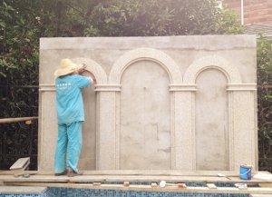 无锡威尼斯花园景墙施工,欧式庭院景观