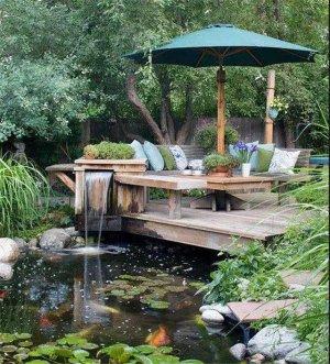 私家庭院设计:灵动抽象的水景庭院效果图大全